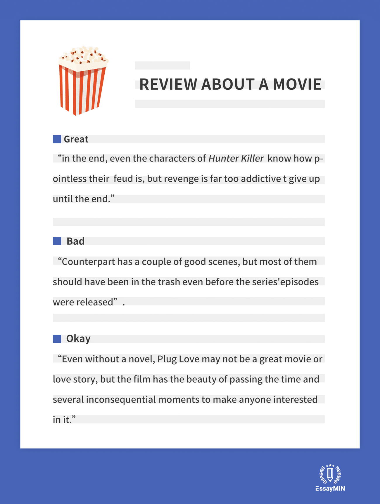 review writing about a movie